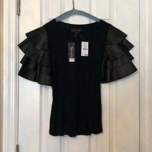 Gracia leather ruffle sleeve shirt